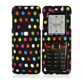 Kyocera Domino S1310 Rubberized Hard Case - Colorful Polka Dots on Black