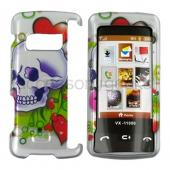 LG EnV Touch VX11000 Rubberized Hard Case - Skull and Hearts on White