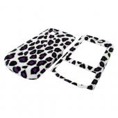 LG Shine II GD710 Rubberized Hard Case - Purple/Black Leopard Print on White