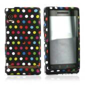 Motorola Droid A855 / Milestone Rubberized Hard Case - Rainbow Polka Dots on Black