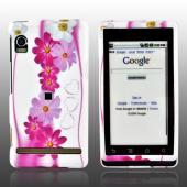 Motorola Droid Rubberized Hard Case - Pink Flower Design on White