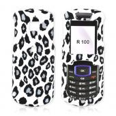 Samsung Stunt R100 Rubberized Hard Case - Grey/Black Leopard Print on White