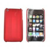 Apple iPhone 3G 3GS Rubberized Hard Back Case - Vertical Ridges on Red