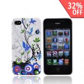Apple Verizon/ AT&T iPhone 4, iPhone 4S Rubberized Hard Back Cover - Blue and Green Autumn Flowers on White