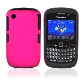 Blackberry Curve 3G 9330, 9300, 8520, 8530 Rubberized Hard Case on Silicone Case - Pink on Black
