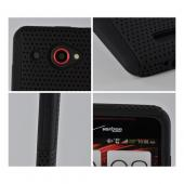 Black Mesh on Black Rubberized Hard Case Over Silicone for HTC Droid DNA
