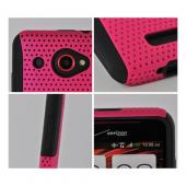 Hot Pink Mesh on Black Rubberized Hard Case Over Silicone for HTC Droid DNA