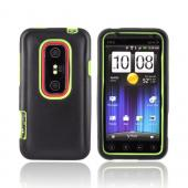 HTC EVO 3D Hard Case w/ Silicone Case - Neon Green/ Black