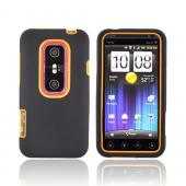 HTC EVO 3D Hard Case w/ Silicone Case - Orange/ Black