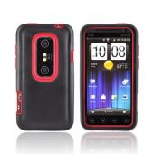 HTC EVO 3D Hard Case w/ Silicone Case - Red/ Black