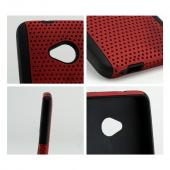 Red Mesh on Black Silicone Hybrid Case for HTC One