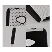 White Mesh on Black Silicone Hybrid Case for HTC One