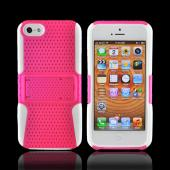 Apple iPhone 5/5S Rubberized Hard Case Over Silicone w/ Stand - Hot Pink Mesh on White