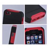 Red/ Black Rubberized Hard Case Over Silicone w/ ID & Card Compartment for Apple iPhone 5