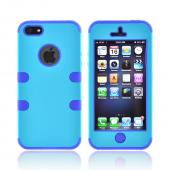 Apple iPhone 5/5S Rubberized Hard Case Over Silicone - Turquoise/ Navy Blue