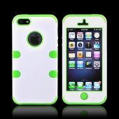 Apple iPhone 5/5S Rubberized Hard Case Over Silicone - White/ Neon Green