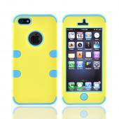 Apple iPhone 5/5S Rubberized Hard Case Over Silicone - Yellow/ Baby Blue