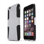 White Apple iPhone 6 Plus Rubberized Mesh Hard Cover on Black Silicone Skin Dual Layer Case