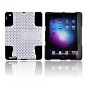 Apple iPad 2/ New iPad Rubberized Hard Case Over Silicone w/ Stand - White/ Black