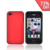 Luxmo Apple Verizon/ AT&T iPhone 4, iPhone 4S Rubberized Hard Case w/ Silicone Case - Red/Black