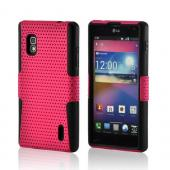 Hot Pink Mesh on Black Silicone Hard Case for LG Optimus G (AT&T)