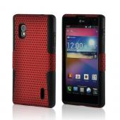 Red Mesh on Black Silicone Hard Case for LG Optimus G (AT&T)
