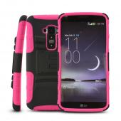 Black Rubberized Hard Case w/ Kickstand on Hot Pink Silicone Skin Case w/ Holster for LG G Flex