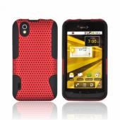 LG Marquee LS855 Rubberized Hard Case Over Silicone - Red Mesh on Black