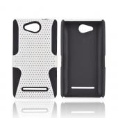 LG Lucid 4G Rubberized Hard Case Over Silicone - White Mesh on Black