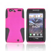 Motorola Droid RAZR Rubberized Hard Case Over Silicone - Hot Pink Mesh on Black