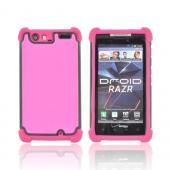 Motorola Droid RAZR Perforated Hybrid Hard Cover Over Silicone Case - Hot Pink/ Black