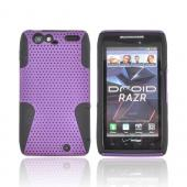Motorola Droid RAZR Rubberized Hard Case Over Silicone - Purple Mesh on Black