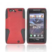Motorola Droid RAZR Rubberized Hard Case Over Silicone - Red Mesh on Black