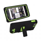 Motorola Droid X2 MB870 Rubberized Hard Case w/ Stand & Silicone Case - Lime Green/ Black
