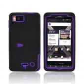 Motorola Droid X2 MB870 Rubberized Hard Case w/ Stand & Silicone Case - Purple/ Black