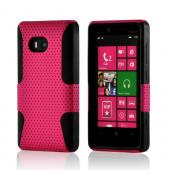 Hot Pink Mesh on Black Silicone Hybrid Case for Nokia Lumia 810
