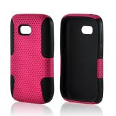 Hot Pink Mesh on Black Rubberized Hard Case Over Silicone for Nokia Lumia 822