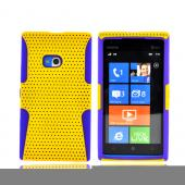 Nokia Lumia 900 Rubberized Hard Case Over Silicone - Yellow Mesh on Purple