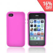 Apple iPhone 4 Rubberized Hard Case Over Silicone - Hot Pink/Black