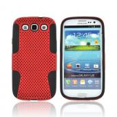 Samsung Galaxy S3 Rubberized Hard Case Over Silicone - Red Mesh on Black