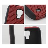Red Mesh on Black Silicone Hybrid Case for Samsung Galaxy S4