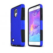 Blue Samsung Galaxy Note 4 Rubberized Mesh Hard Cover on Black Silicone Skin Dual Layer Case