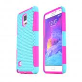 Mint Samsung Galaxy Note 4 Rubberized Mesh Hard Cover on Hot Pink Silicone Skin Dual Layer Case