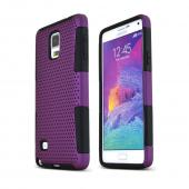 Purple Samsung Galaxy Note 4 Rubberized Mesh Hard Cover on Black Silicone Skin Dual Layer Case