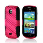 Hot Pink Mesh on Black Rubberized Hard Case Over Silicone for Samsung Galaxy Stellar