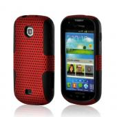 Red Mesh on Black Rubberized Hard Case Over Silicone for Samsung Galaxy Stellar