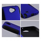 Samsung Galaxy Note 2 Rubberized Hard Case Over Silicone - Blue Mesh on Black