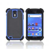 T-Mobile Samsung Galaxy S2 Perforated Hybrid Hard Cover Over Silicone Case - Black/ Blue