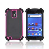 T-Mobile Samsung Galaxy S2 Perforated Hybrid Hard Cover Over Silicone Case - Black/ Hot Pink