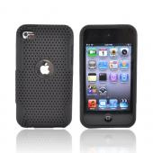 Luxmo Apple iPod Touch 4 Rubberized Hard Case Over Silicone - Black Mesh